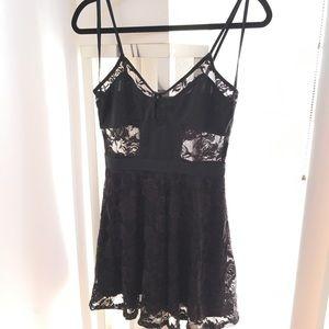 Nasty Gal Dress black lace skater size medium
